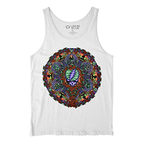 Liquid Blue unisex adult Grateful Dead Celtic Mandala White Tank Top T Shirt, White, Medium US