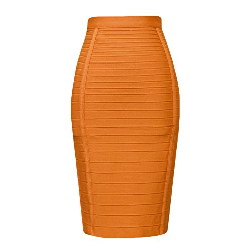 HLBandage Women's High Waist Elastic Rayon Bandage Pencil Skirt(M, Orange)
