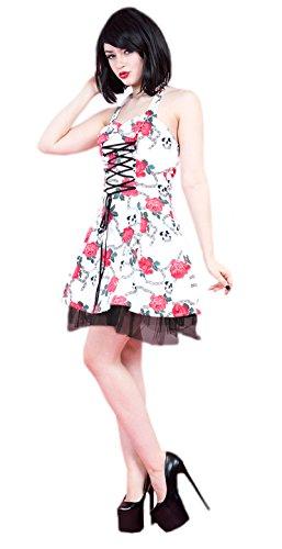 Gothic Skull Rose korset halters, korte zomerjurk, wit, rood, rocker, skull, bloemenkorset, halters, gothic jurk