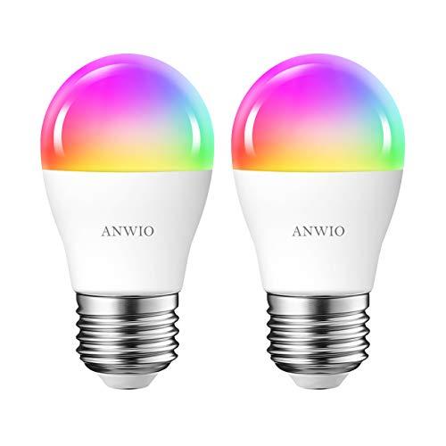 2x 5W Bombillas Inteligentes LED E27 RGB WiFi y Bluetooth, G45 mini Golf Equivalente a 40W, 470 Lúmenes, Funciona con Alexa, Google Home y Smart Life, ANWIO.