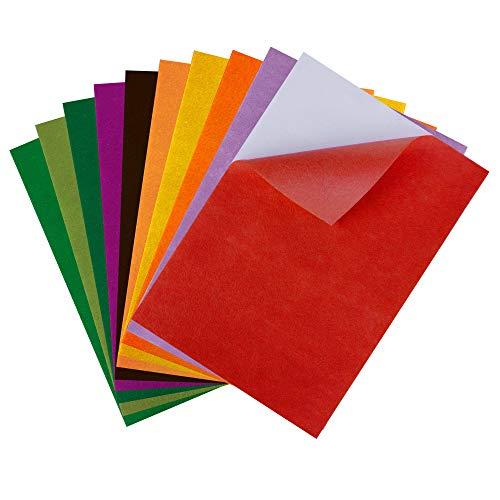 10 piezas 10 colores A4 Adhesivo Tejido de fieltro Volver Hojas adhesivas Autoadhesivas, duraderas y resistentes al agua para hacer arte de bricolaje, trajes caseros