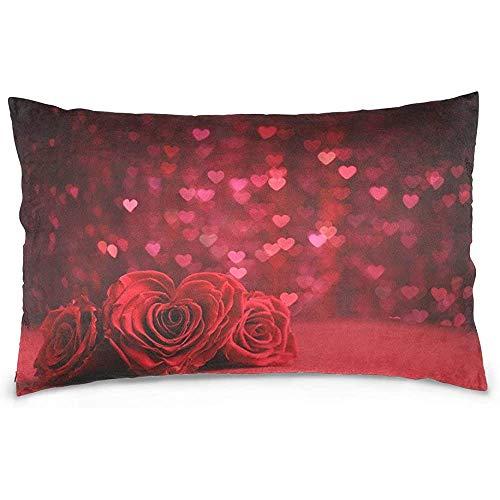 Pamela Hill Love Red Rose Flowers Funda de Almohada Sofá Cama Throw Pillow Cover Cremallera de poliéster 20x30 Pulgadas