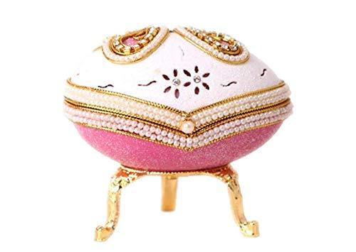 Cuzit Boîte à Bijoux en Forme d'œuf de Pâques Rose Papillon pour Noël/Anniversaire/Saint-Valentin/Anniversaire de Mariage Motif château dans Le Ciel Blanc