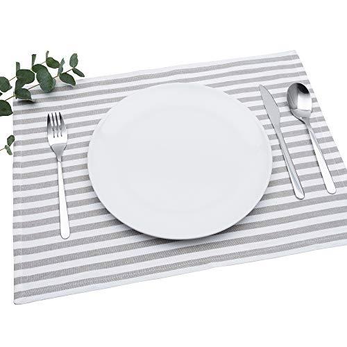 FILU Tischset 4 Stück Grau/Weiß gestreift (Farbe und Design wählbar) 33 x 45 cm - hochwertig gefertigte Platzsets aus 100% Baumwolle im skandinavischen Landhaus-Stil