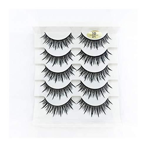 QH 5Pairs 3D Mink False Eyelashes (Color : 3D 21)