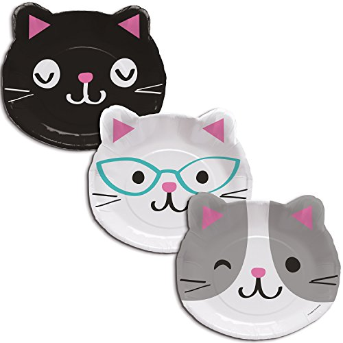 Cat Party Assorted Kitten Shaped Dinner Plates, 24 ct