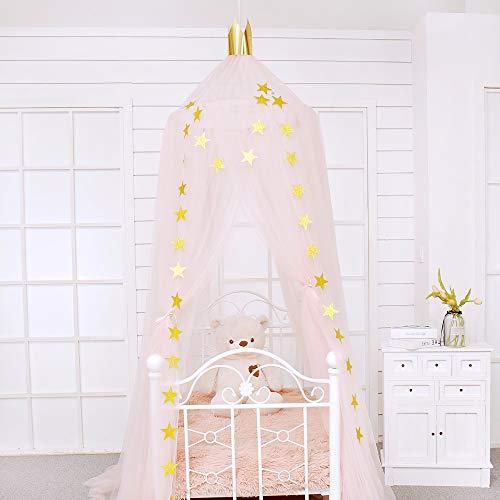 Jefshon Babybett Mädchenzimmer Baldachin Betthimmel, Moskitonetz Spielzelte Perfekt Dekoration für Kinder Prinzessin Mädchen Schlafzimmer oder Babyzimmer (Rosa 2)
