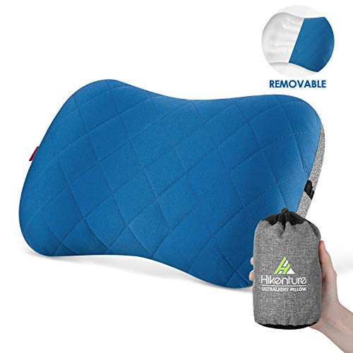 Hikenture Aufblasbares Camping/Reise Kissen mit Abziehbarem Kissenbezug, Ergonomisches Kopfkissen, Komfortables Nackenkissen für Reise/Outdoor, Inflatable Travel Neck Pillow(Blau), Blau, One Size
