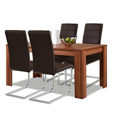 agionda® Esstisch Stuhlset : 1 x Esstisch Toledo Nussbaum 140 x 90 4 Freischwinger braun mit hochwertigem PU Kunstleder