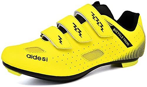 KUXUAN Zapatillas de Ciclismo de Carretera para Hombre Zapatillas de Ciclismo de Montaña con Candados,Calzado Deportivo de Invierno,Yellow-45EU=(275mm)