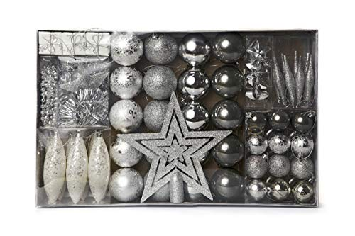 Set de 60 décorations pour sapin de Noël couleur argent