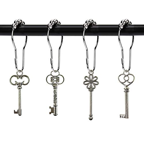ZILucky Set of 12 Retro Style Skeleton Key Shower Curtain Hooks Antique Large Vintage Shabby Chic Cottage Style Theme Home Shower Curtain Rings Decor Accessories (Silver)