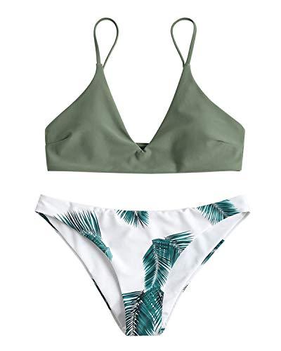 ZAFUL Damen Gepolsterter Bikini Set Bademode Badeanzug mit Blatt Pattern Zweiteilig Gr¨¹n Medium