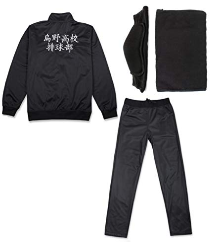 Haikyuu Cosplay Costume Jacket Pants Uniform Karasuno Team Windbreaker Lightweight Front Zipper Knee Pads Set(Uniform Set 2XL)