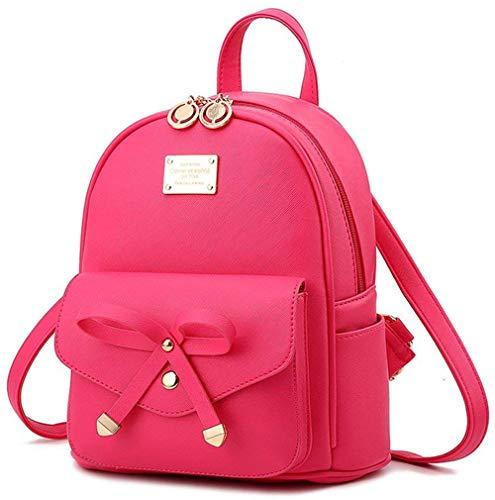 I IHAYNER Kleiner Rucksack Damen PU Leder Mini Rucksäcke Geldbörse für Frauen Mädchen Süß Bowknot Schulrucksack für Mädchen Frauen