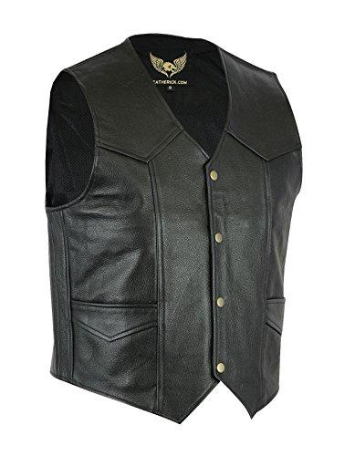 Heren Echt Leer Klassiek Waistcoat Vest Zwart - Biker Stijl of Casual Mode 5XL Zwart