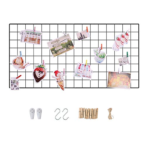 Wall Grid Photo Display Panel, Wall Hanging Metal Wire Pictures Cards and Memo Sheets Holder, Multifunction Mesh Board for Home and Office Decoration, Storage, File Organizer (Black, 17.7' x 37.4')