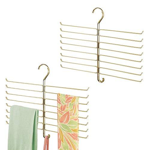 mDesign Set da 2 gruccia multipla salvaspazio – Pratico appendino da armadio in metallo con 16 bracci ciascuno per foulard, leggings, cravatte – Guardaroba da appendere in metallo – ottone