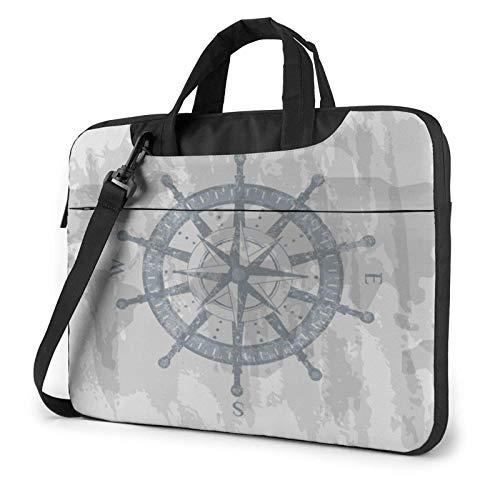 Laptop Messenger Bolsa para computadora portátil Navegación náutica Bolso de Hombro Gris Maletín Funda para computadora portátil de Oficina Estuche para Tableta para Hombres y Mujeres