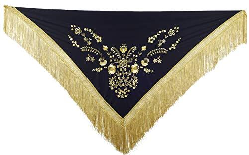 La Señorita Mantones bordados Flamenco Manton de Manila negro oro flecos oro Large