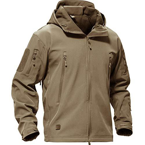 Casivent Herren Taktische Armee Outdoor Mantel Camouflage Softshell Jacke Jagdjacke L khaki