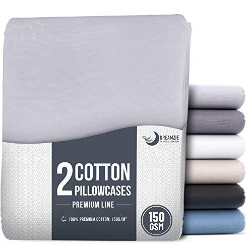 Set mit 2X Baumwolle Kissenbezüge 40 x 40 cm - 100% Jersey Baumwolle 150 g/qm - Kissenhülle - Kissenbezug - Resistent und Hypoallergen - Grau
