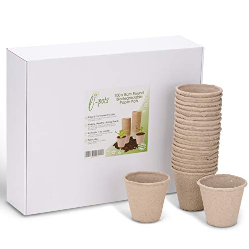 e-pots 100 x 8cm Round Biodegradable Seed Pots in Plastic Free Packaging Seed Starting Pots for Seeds, Seedlings, Cuttings and Plug Plants  Made from Recyclable Paper Pulp - Reduce Plastic Use!