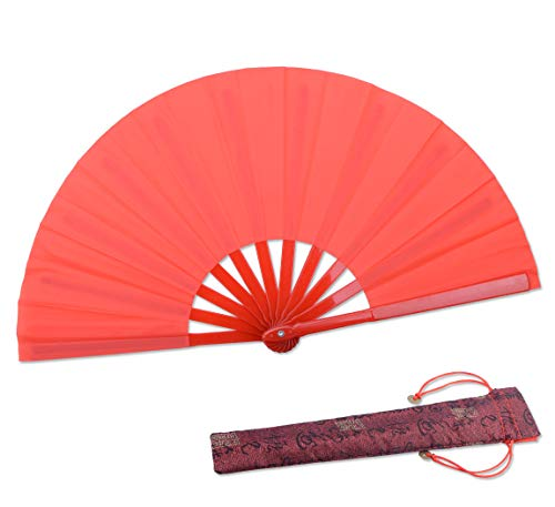 HONSHEN Dance Folding Hand Gift Fan-Red Small Chinese Kung Fu Tai Chi Plastic-Nylon Hand Held Folding Fans for Men/Women/Children with a Fabric Case for Protection 11.8inch (Red)