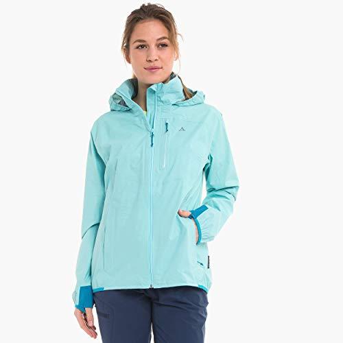 Schöffel Jacket Neufundland4, wind- und wasserdichte Damen Jacke mit Pack-Away-Tasche, superleichte und flexible Regenjacke Damen, angel blue, 36
