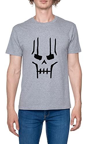 Necron Face Camiseta para Hombre Gris De Manga Corta Ligera Informal con Cuello Redondo Men's Tshirt Grey L