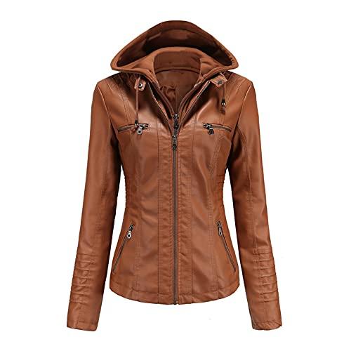 CouieCuies Mujer Clásica Removable Hooded Faux PU chaqueta cuero Manga larga trench Abrigos Zipper Tops Short Cárdigans Camel-M