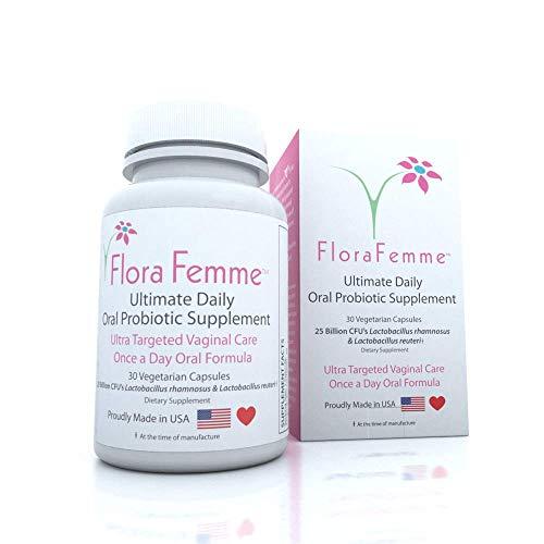 FloraFemme Ultimate Daily Oral Probiotic Supplement - Support Urinary Tract & Vaginal Health - Eliminate Vaginal Odor, Balance pH, & Restore Proper Gut & Vaginal Flora - Ultra Potent Women's Blend