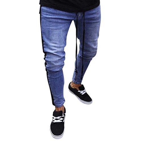 Jeans für Herren,Transwen Mode Männer Stretch Denim Hosen Distressed zerrissen ausgefranste Slim Fit Zipper Jeans Hosen Freizeithose Jeans Biker Hose Freizeit Deim Jeans (S, Schwarz)