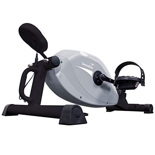 skandika Pedaltrainer Liten Arm- und Beintrainer Mini Heimtrainer Minitrainer für zu Hause, Büro und Schreibtisch | LCD Trainingscomputer, 8 Stufen, Magnetbremse | 110kg Benutzergewicht | Grau