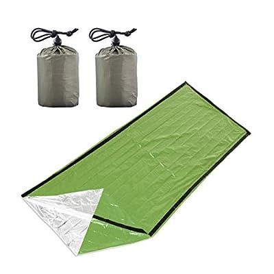 Emergency Bivy Sack, Lightweight Compact Emergency Survival Sleeping Bag Set, Ultra Lightweight Emergency Thermal Blanket Suitable for Camping, Outdoor, Hiking, Car Emergency Green(2 Pack)