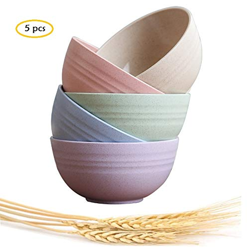 Choary Eco-friendly Wheat Straw Baby Bowls, Microwave Dishwasher safe Bowl Sets - Unbreakable Natural Non-Toxin mini degradable Bowls for Snacks,Fruits, BPA FREE set of 5.