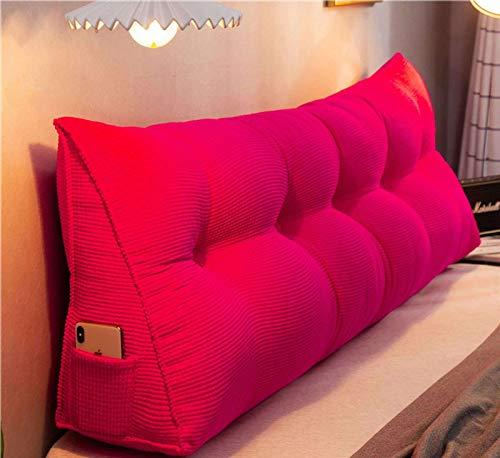 Almohada de lectura desmontable, almohada de cuña suave, apoyo lumbar, almohada triangular, adecuada para ver la lectura de la televisión jugando juegos-rosa roja-180 x 20 cm