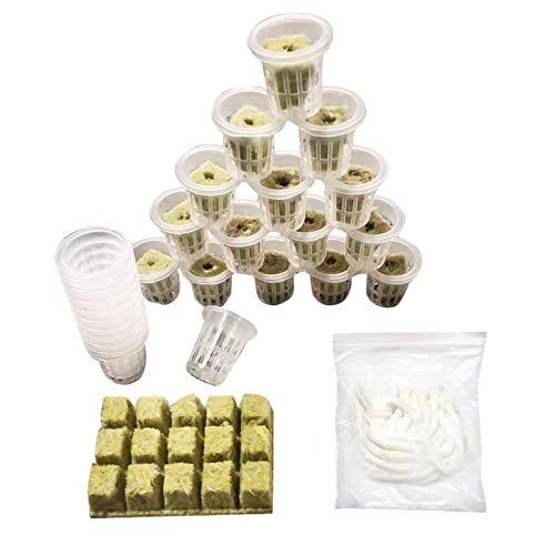 Dehongwang Rockwool Grow Cubes + Schlitz-Netzbecher + Hydroponik-Kit für Baumwollseile 26/50-teilige Würfel Bodenlose Kultivierungs-Kompressionsbasis zum Starten des Klonens kräftiger