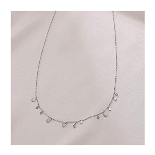 Zaza Womens Simple Delicate Full Pendent 18K Gold Plated/Silver Plated Layered Pendant Handmade Round/Rectangular/Drop-shaped Chokers Necklaces (Color : Silver, Size : Drop-shaped)