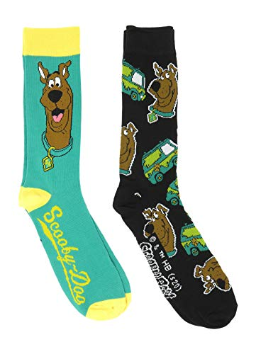 Scooby Doo Face and Logos Licensed Men's Crew Socks 2 Pair Pack