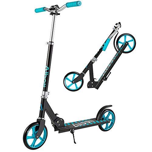 Albott Aluminium Kickscooter Roller Kinderroller Tretroller 200mm Wheel Scooter Pro City Scooter Klappbarer City-Roller höhenverstellbar Tret-Roller mit XXL Trittbrett für Kinder und Erwachsene