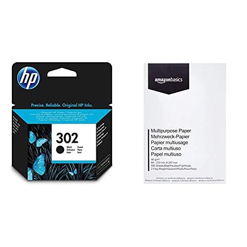 HP 302 - Cartucho de tinta Original HP 302 Negro para HP DeskJet 2130, 3630 HP OfficeJet 3830, 4650 HP ENVY 4520 & AmazonBasics Papel multiusos para impresora A4 80gsm, 1 paquete, 500 hojas, blanco