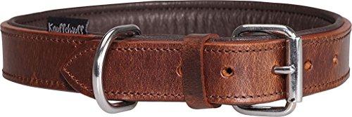 Knuffelwuff Weiches Lederhalsband Hund Hundehalsband Basic Plus Braun L 36-45 cm