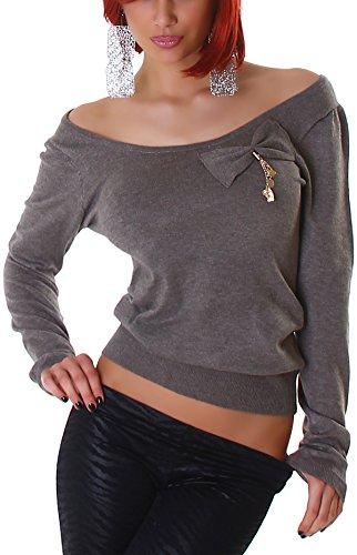 Jela London Pullover Sweatshirt Longsleeve großer Ausschnitt Dekolleté Schleife, Braun