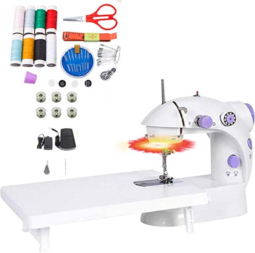 Sewing Machine, Mini Size Electric Crafting Mending Machine 2-Speed Double Thread with Foot Pedal and Light for Household Travel Beginner (Sewing Machine+45Pcs Kit+Table)