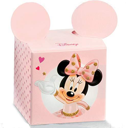Ingrosso e Risparmio 10 Scatole portaconfetti a Forma di cubo Disney con Minnie Ballerina e Orecchie sporgenti in cartoncino Rosa, bomboniere Nascita, Compleanno Bimba (con Confetti Rosa)
