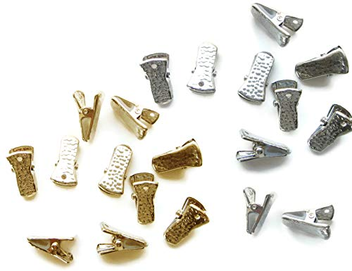 Metal Bulldog Clips for ID Badge Holders Lanyards Jewelry - Mini Alligator Grip Style (Gold and Silver)