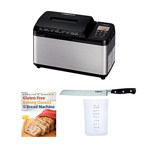 """Zojirushi BB-PDC20BA Home Bakery Virtuoso Plus Breadmaker, (2 lb. loaf) Bundle with 8"""" Bread Knife with Blade Guard, 4 Piece Stainless Steel Measuring Cup Set and Gluten-Free Bread Book (5 Items)"""