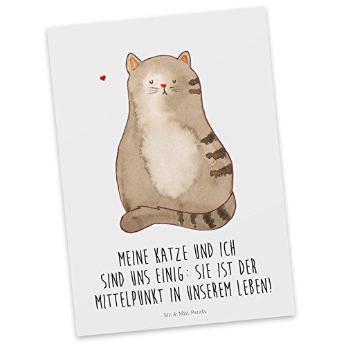 Mr. & Mrs. Panda Geschenkkarte, Karte, Postkarte Katze sitzend mit Spruch - Farbe Weiß