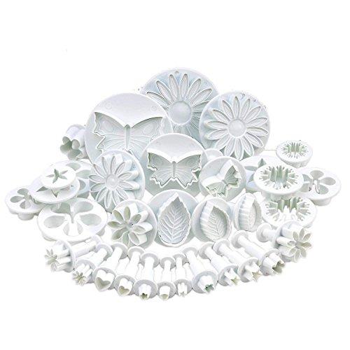 Auped 10 juegos (30 piezas) de cortadores de émbolo para decoración de tartas (corazones, mariposas, estrellas, margaritas, hojas de rosas venenadas, clavel, flor, girasol, otros)